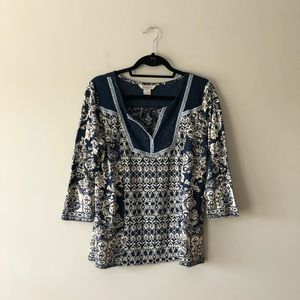 Lucky Brand beige and navy blue printed top
